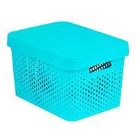 Коробка пластиковая с крышкой Infinity 17 л 360x270x220 мм бирюзовая ажурная N40520797