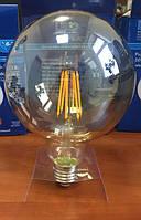 Лампа светодиодная филамент (Filament) G80 E27, 6 Вт. бронзовая