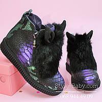 Зимние кожаные ботинки для девочки с ушками тм Olteya р.27,28,29,30,31,32,33,34