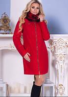 Пальто женское зимнее с меховым воротником, фото 1