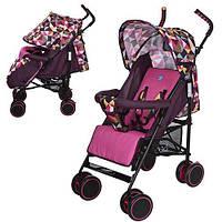Детская коляска-трость Bambi Розовая (M 3425-8) с регулировкой спинки, фото 1