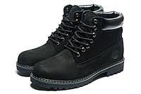 Ботинки зимние мужские Timberland, нубук, черные, натуральная кожа, р. 41 42 43 44 45