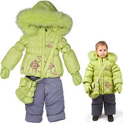 Детский зимний полукомбинезон с курткой на флисе для девочек