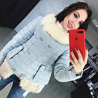Женская демисезонная курточка со сьемным мехом р.42-44,44-46