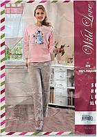 Теплая женская пижама Турция,нежного цвета