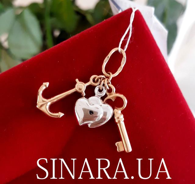 Золотая подвеска Вера, Надежда, Любовь  - Золотой кулон Сердце Якорь Крестик фото 1