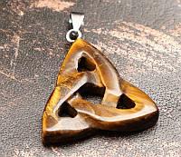 """Кулон """"Трилистник"""" Тигровый Глаз (3,5х3,5х0,5 см)"""