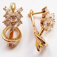 """Сережки """"Комета"""" з прозорими фіанітами. Ювелірна біжутерія Xuping Jewelry, позолота., фото 1"""