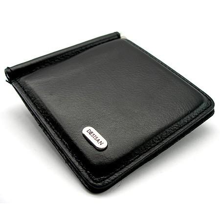 Зажим для купюр кожаный магнитный черный Desisan