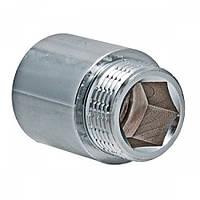Резьбовые фитинги VALTEC Удлинитель 3/4х80 мм ХРОМ 198