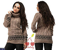 Шерстяное коричневое свитер-платье с орнаментом. Арт-12438