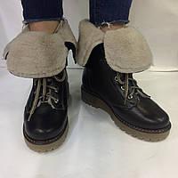 Женские зимние ботинки  из натуральной кожи коричневого цвета