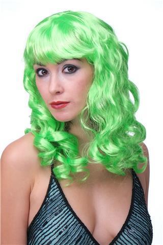 Парик карнавальний з чубчиком довгі локони зелений 55см