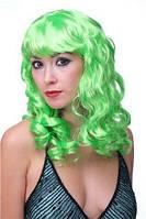 Парик карнавальный с челкой длинные локоны зеленый 55см