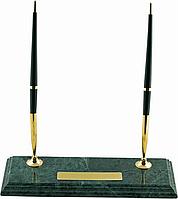 Подарочная настольная подставка buromax bm.6650 для 2-х шариковых ручек из зелёного мрамора