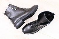 Женские ботинки, кожаные, зимние, на меху, черные, на шнурках
