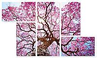 Модульная картина большое розовое дерево