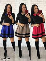 Платье с расклешенной юбкой и воротником 13309