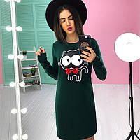 Трикотажное платье с принтом кошечка