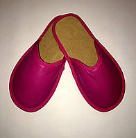 Тапочки кожаные женские фуксия