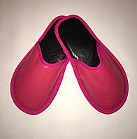 Тапочки кожаные женские розовые