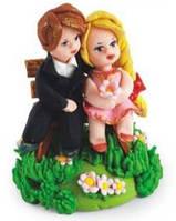 МАСТИКА, Съедобная фигурка на свадебный торт Пара влюбленных, 13 см