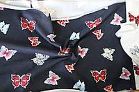 Трикотаж ангора (синий, бабочки)