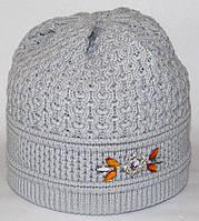 Жіноча зимова шапка. Подвійна в'язання. Сіра.
