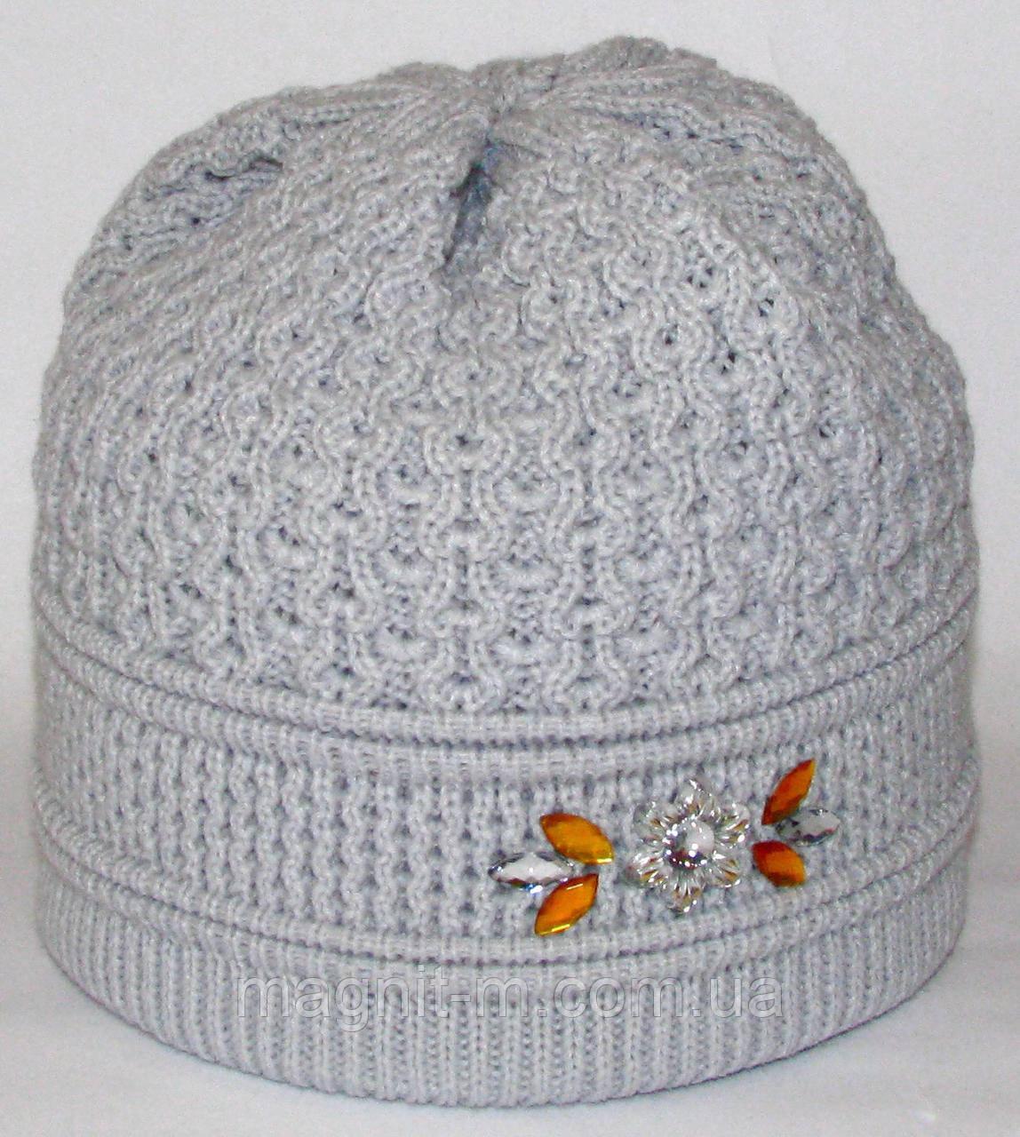 Женская зимняя шапка. Двойная вязка. Серая.