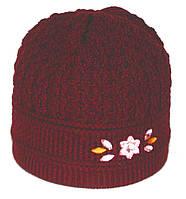 Женская зимняя шапка. Двойная вязка. Бордовая.