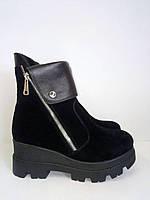 Ботинки женские зимние кожа и замша натур код 300