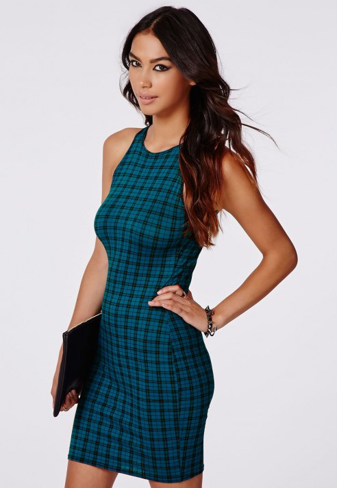 Новое облегающее платье в клетку Missguided