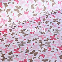 Хлопковая ткань Мотыльки коричнево-розовые