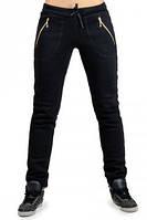ТЕПЛЫЕ спортивные штаны женские на флисе зимние с начесом черные на манжете внизу, с карманами