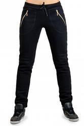 ТЕПЛІ спортивні штани жіночі на флісі зимові з начосом чорні на манжеті внизу, з кишенями