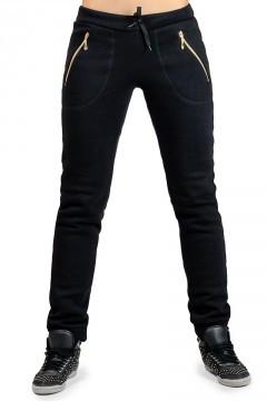 ffe1c456 ТЕПЛЫЕ спортивные штаны женские на флисе зимние с начесом черные на манжете  внизу, с карманами