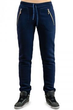 ТЕПЛІ спортивні штани жіночі на флісі зимові з начосом темно сині на манжеті внизу, з кишенями