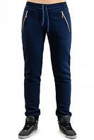ТЕПЛЫЕ спортивные штаны женские на флисе зимние с начесом темно синие на манжете внизу, с карманами