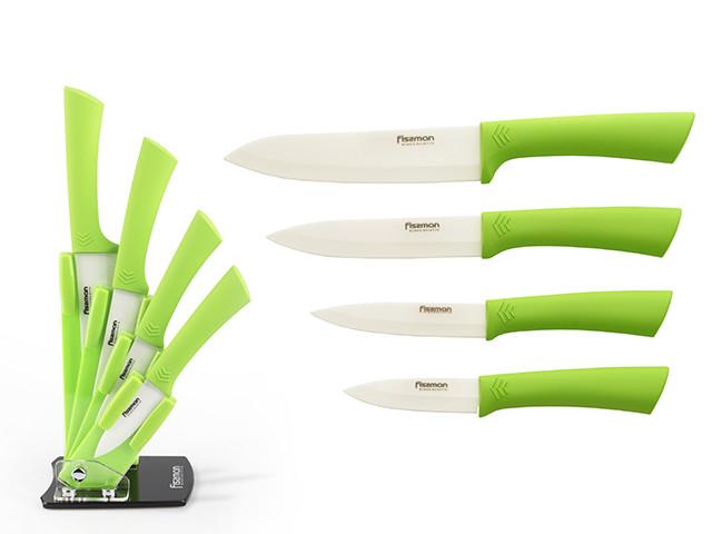 """Набор керамических ножей """"Lime"""" 5пр. на акриловой подставке Fissman"""