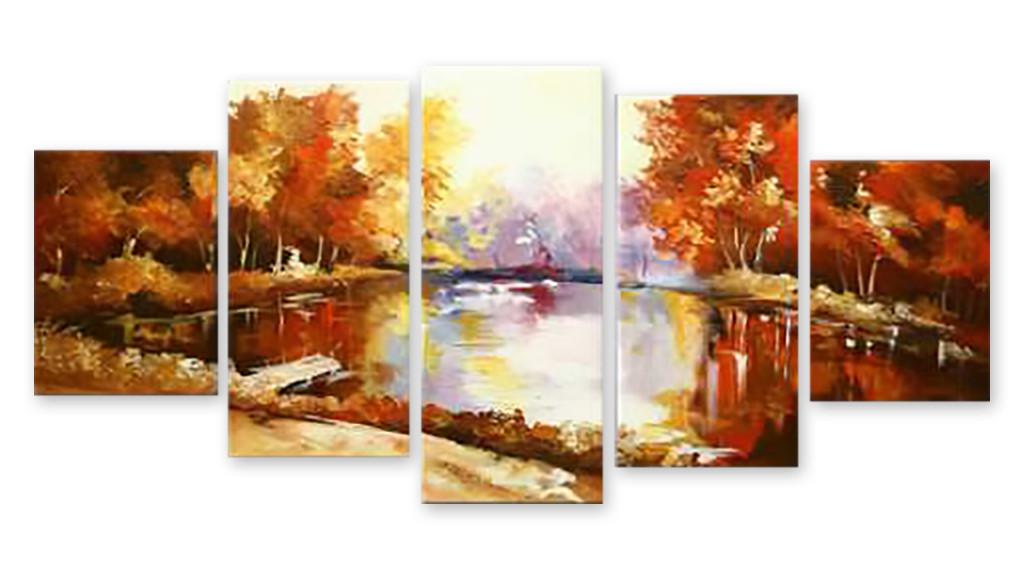 Модульная картина озеро в парке