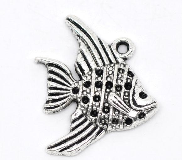 """Подвеска, 21 mm x 19 mm, """" Рыба """", Античное серебро"""