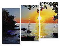 Модульная картина лодки и солнце 3д
