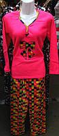 Пижама флисово-велюровая с длинным рукавом 42-48 ,доставка по Украине