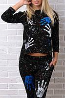Брендовый гламурный спортивный костюм Турция S M L XL XXL чёрный, фото 1