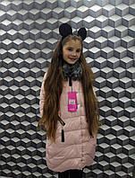 Полу-пальто зимнеедетскоес мехом для девочки 9-13лет,пудровый цвет