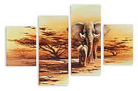 Модульная картина два слона 3д