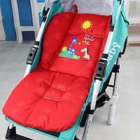 Матрасик с жирафом в коляску, стульчик, автокресло (красный)