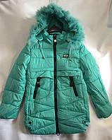 Полу-пальто зимнеедетское с мехом для девочки 8-12лет,бирюзового цвета