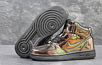 Зимние Кроссовки Nike Air Force  код 3525 лак