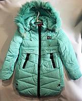 Полу-пальто зимнеедетское с мехом для девочки 8-12лет,мятного цвета